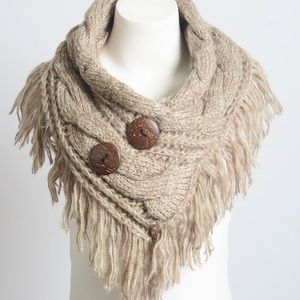 Accessories - Fringe knit wrap scarf button Mocha